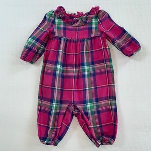 Ralph Lauren Purple Plaid Coverall Outfit 6m